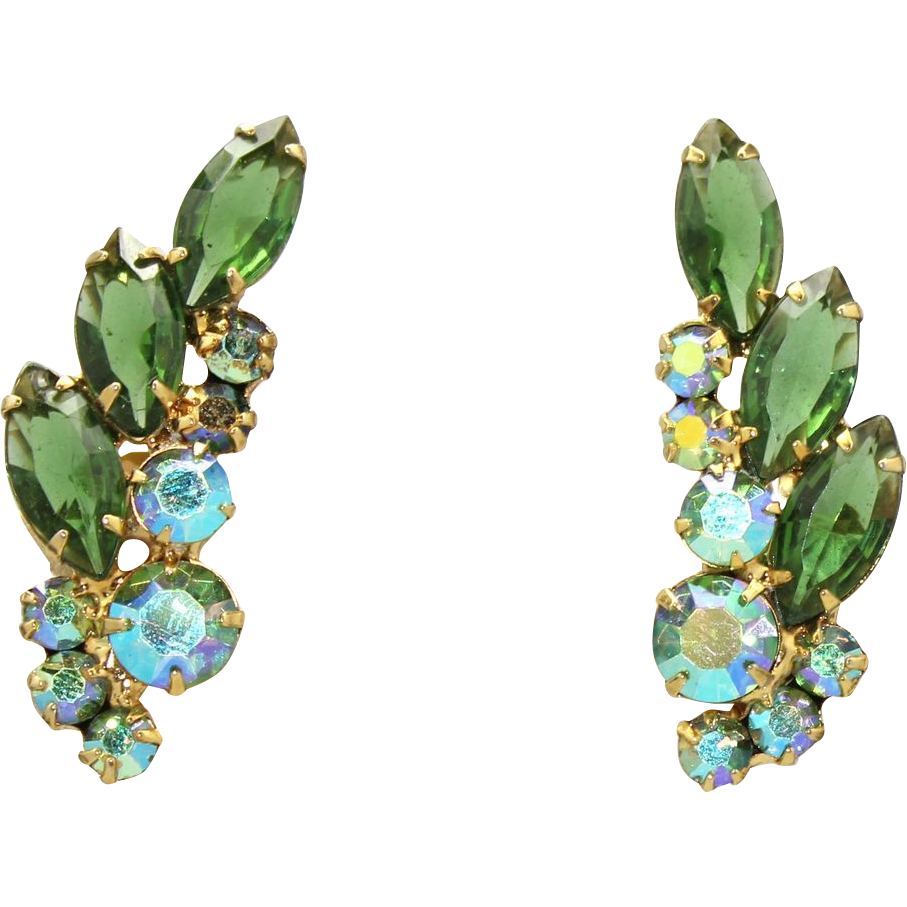 Vintage Juliana (D&E) Book Piece Olivine Green & AB Rhinestone Ear Climber Earrings