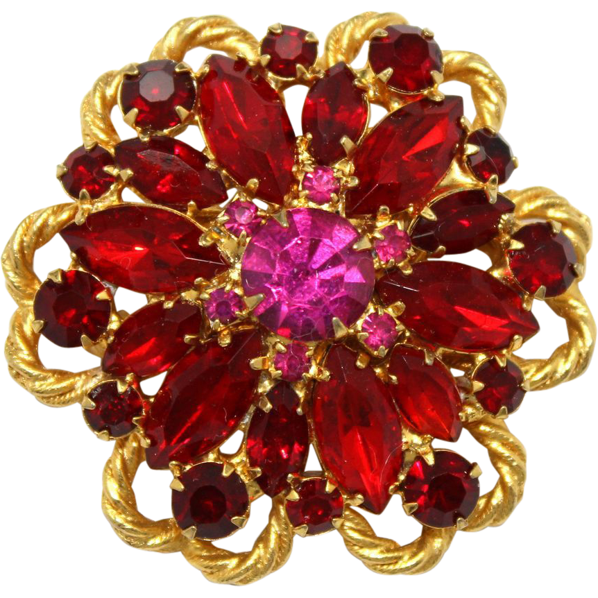 Vintage Juliana (D and E) Garnet, Red, Fuchsia Rhinestone and Twisted Metal Brooch