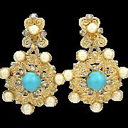 Huge Vintage Juliana (D&E) Faux Turquoise Cabochon, Faux Pearls & Scrolls Dangle Earrings