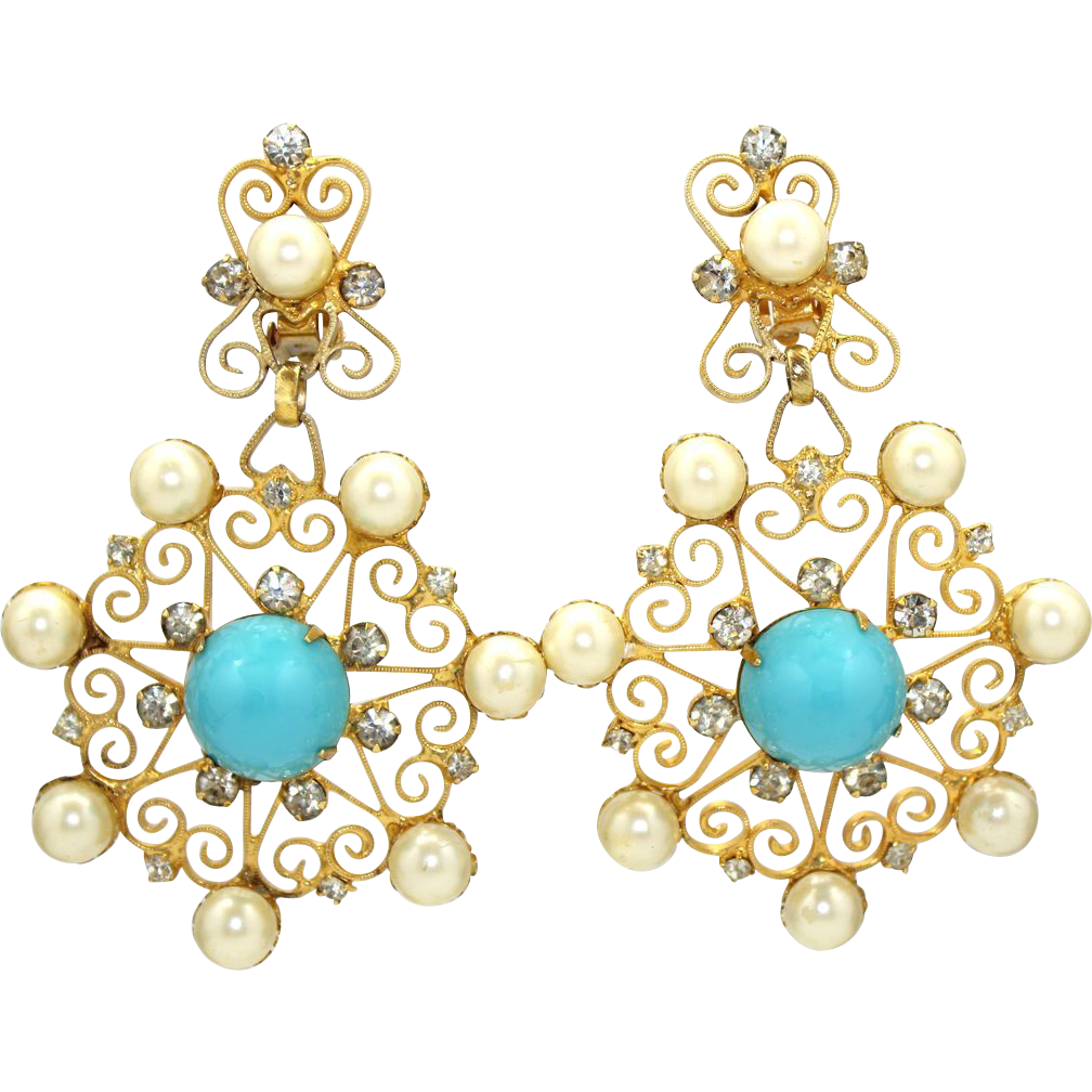 Huge Vintage Juliana (D&E) Faux Turquoise Cabochon, Faux Pearls & Scrolls Dangle Earrings