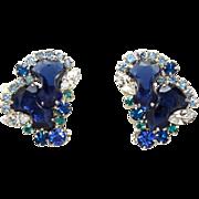 Vintage Juliana (D&E) Blue Anchor Stone & Rhinestone Earrings