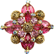 Vintage Juliana Pink Fuchsia Rhinestone Filigree Ball Brooch