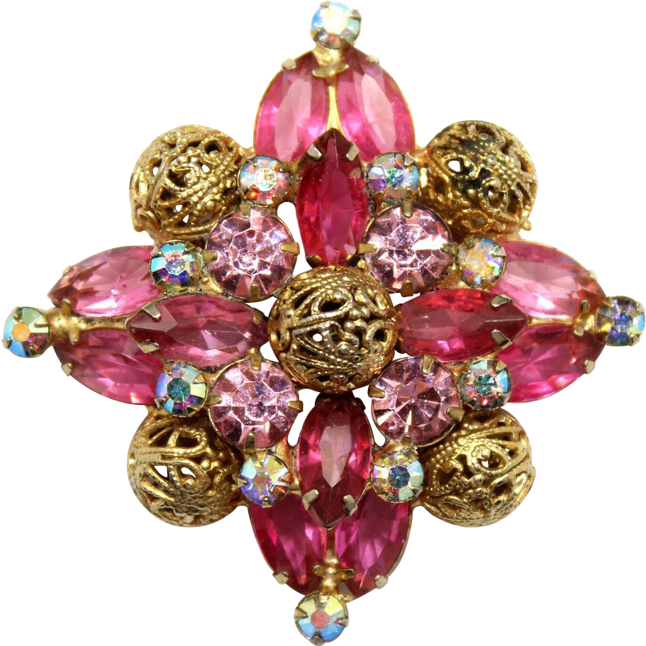 Vintage Juliana Pink Fuchsia Rhinestone Filigree Ball Brooch