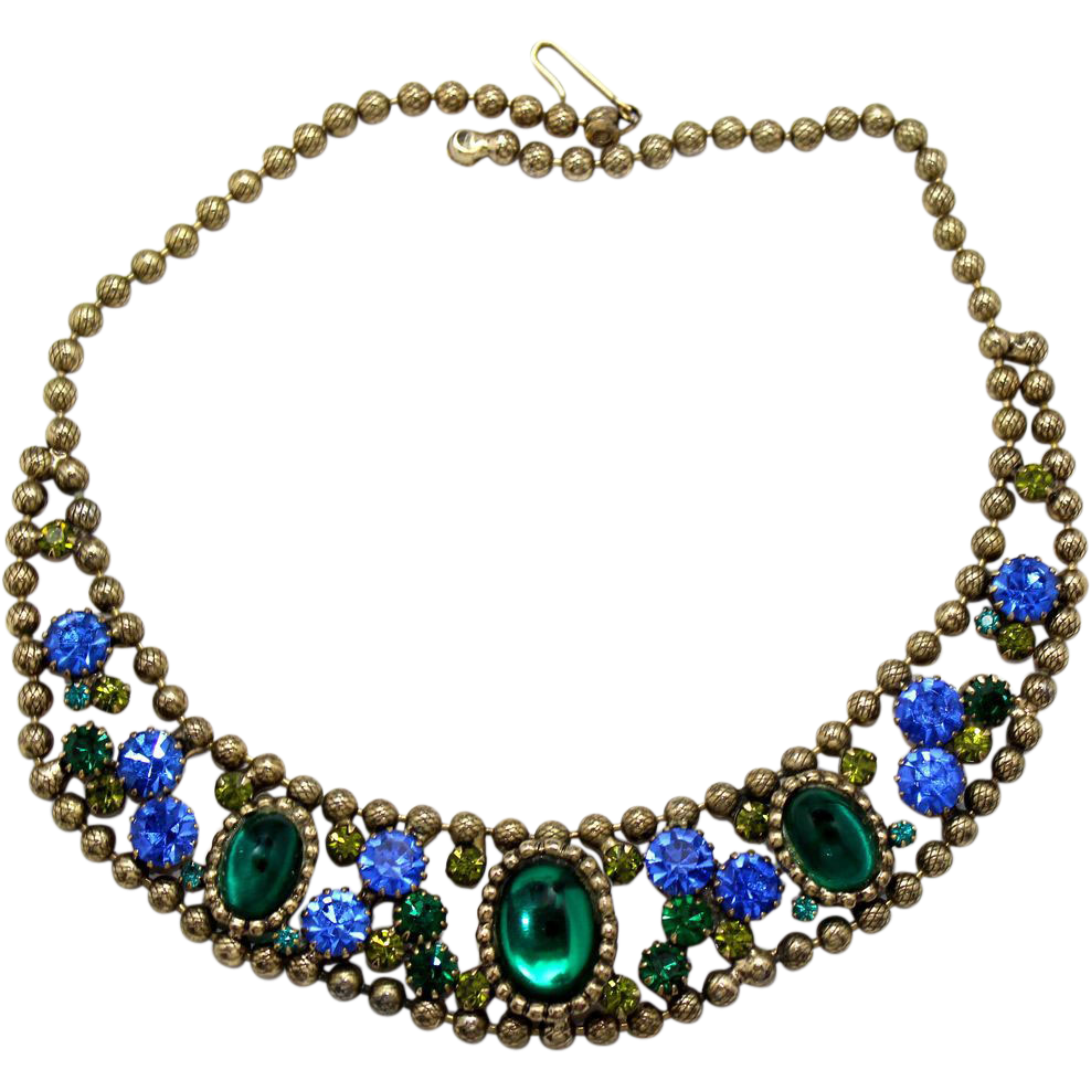Vintage Juliana (D&E) Blue & Green Cabochon & Rhinestone Ball Chain Bib Necklace