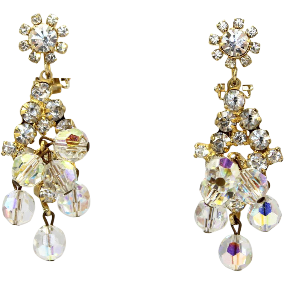 Vintage Juliana (D&E) AB Crystal & Clear Rhinestone Dangle Earrings