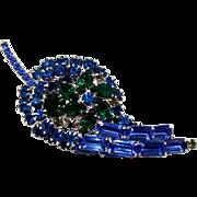 Vintage Juliana (D&E) Book Piece Blue and Green Rhinestone Leaf Shaped Brooch