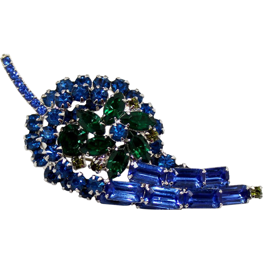 Vintage Juliana (D&E) Book Piece Blue and Green Rhinestone Leaf Shaped Brooch