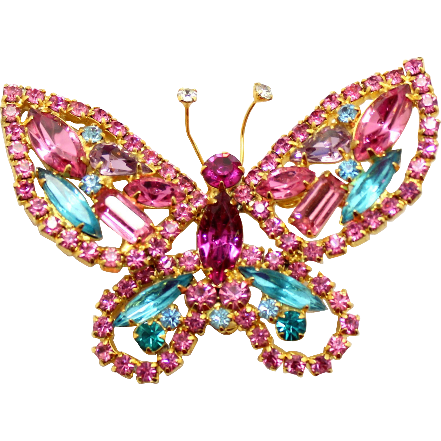 Vintage Juliana (D&E) Book Piece Pink, Fuchsia & Aqua blue Rhinestone Figural Butterfly Brooch