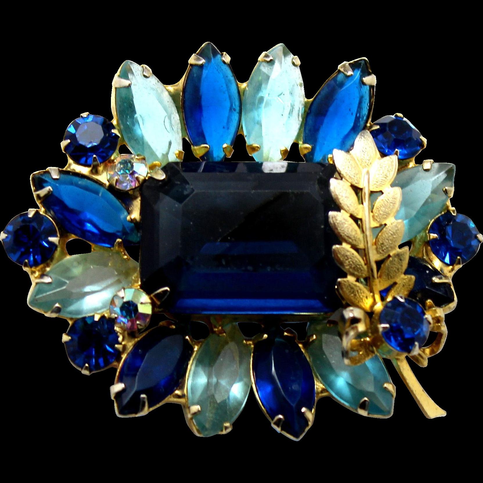 Vintage Juliana Book Piece Blue Rhinestone Metal Leaf  Brooch