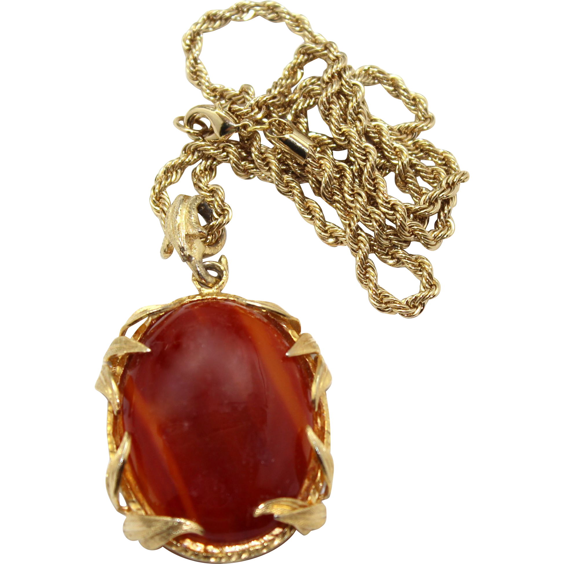 Vintage Juliana Venus Flamed Marbled Amber Lucite Cabochon Rhinestone Pendant Necklace