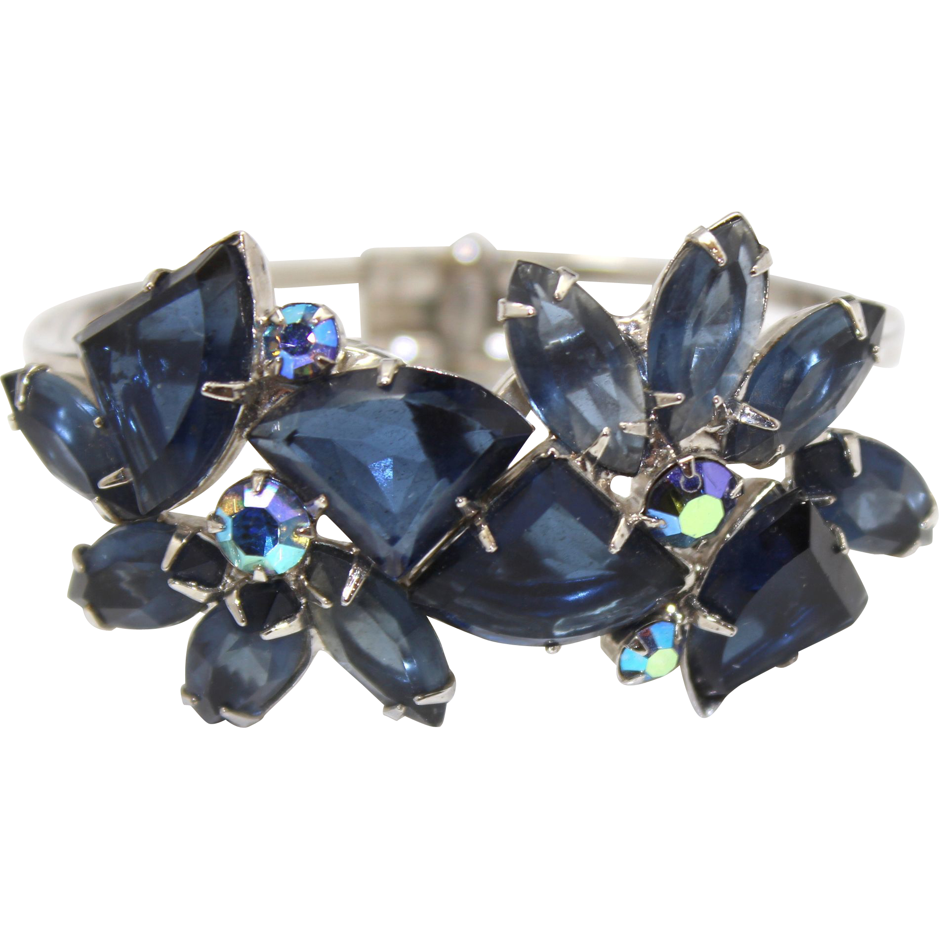 Vintage Juliana Blue Pie Shaped Rhinestone Clamper Bracelet