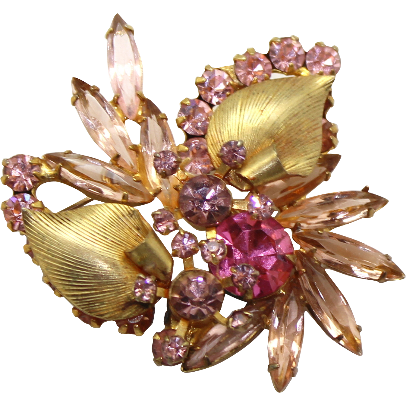 Vintage Juliana (D&E) Book Piece Pink Rhinestone & Metal Leaf Brooch
