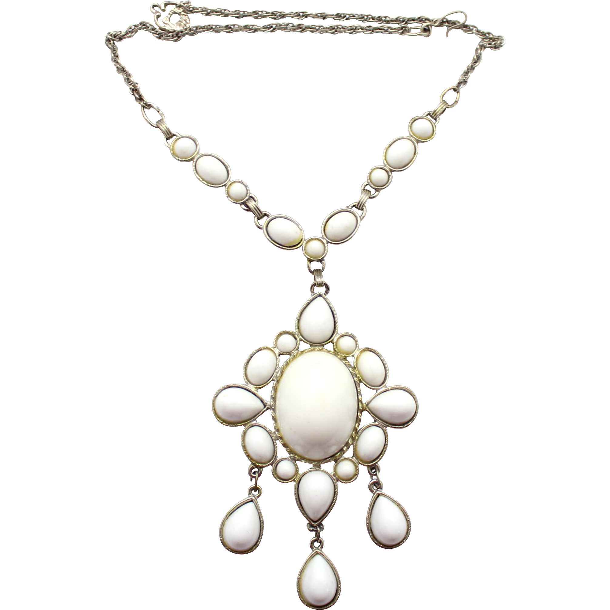 Vintage Juliana Book Piece White High Domed Cabochon Necklace