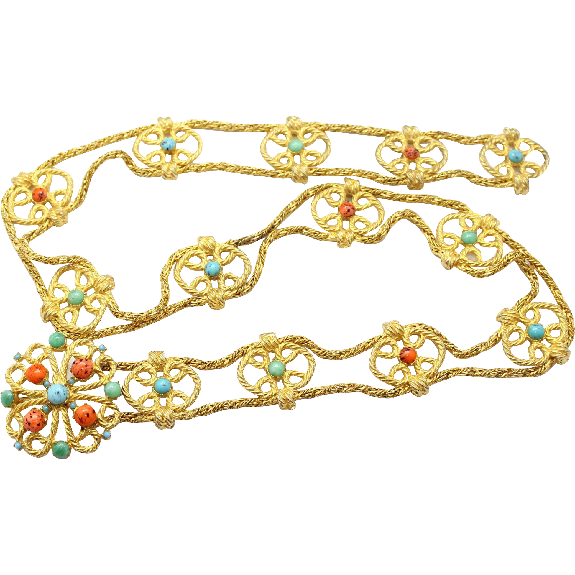 Vintage Juliana (D&E) Book Piece Faux Jade, Coral & Turquoise Cabochon Twisted Metal Belt