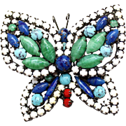 Vintage Juliana (D&E) Faux Jade, Turquoise, Coral, Lapis, White Cabochon & Rhinestone Butterfly Brooch