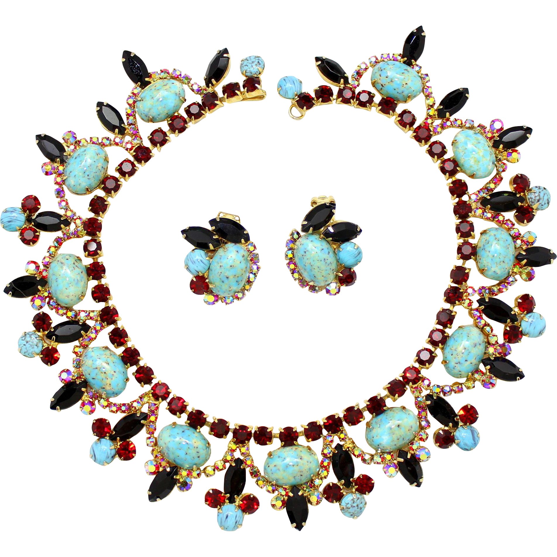 Vintage Juliana (D and E) Book PIece Turquoise Cabochon, Red and AB Rhinestone Collar Necklace and Earrings Demi Parure
