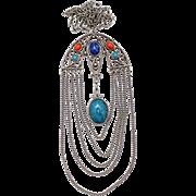 Vintage Juliana (D&E) Book Piece Blue, Turquoise & Red Cabochon Asian Style Pendant Necklace