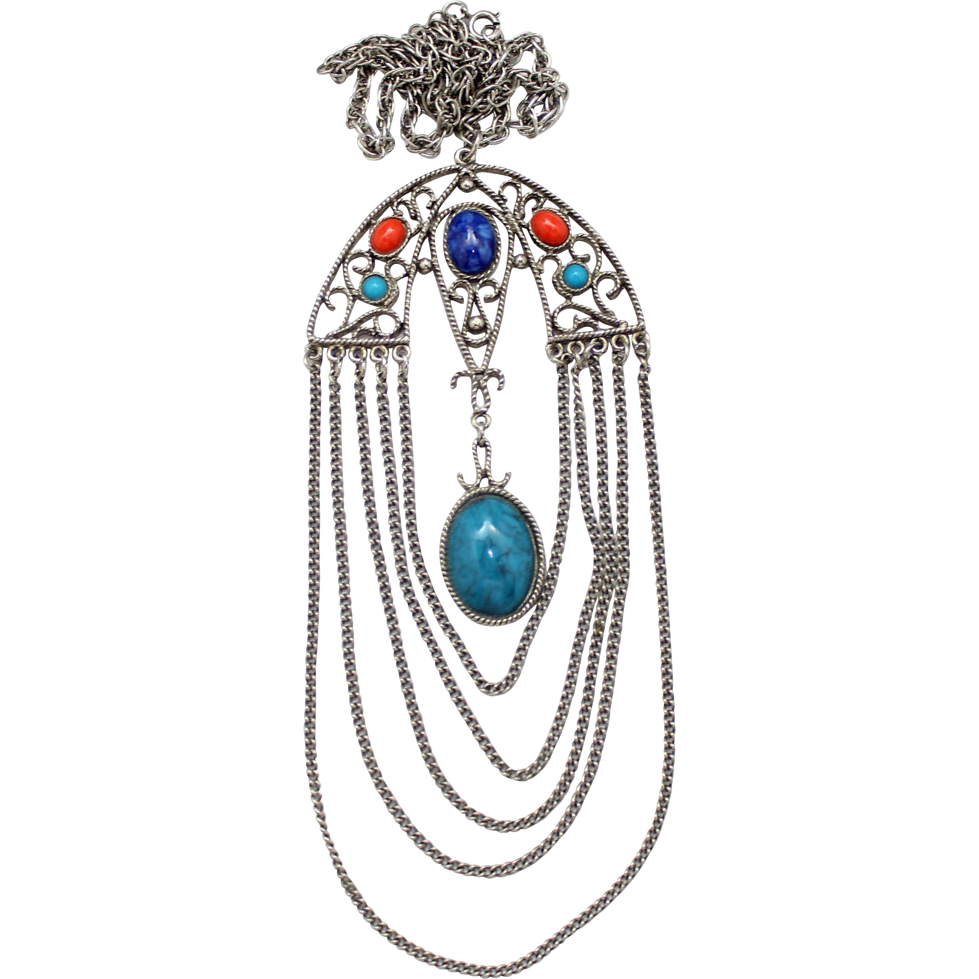 Vintage Juliana Book Piece Blue, Turquoise Red Cabochon Rhinestone Asian Style Pendant Necklace