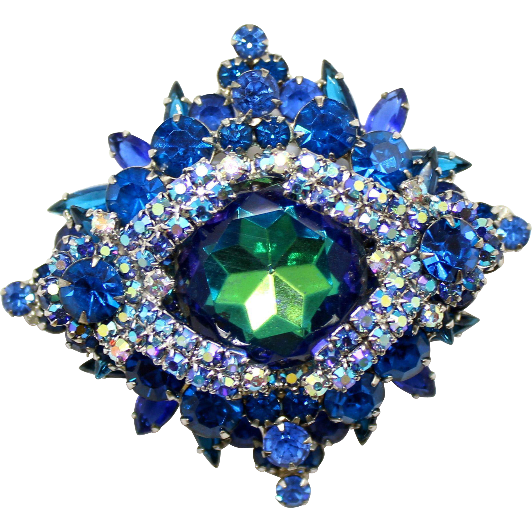 Juliana DeLizza & Elster Bermuda Blue Watermelon Dentelle Caged Brooch