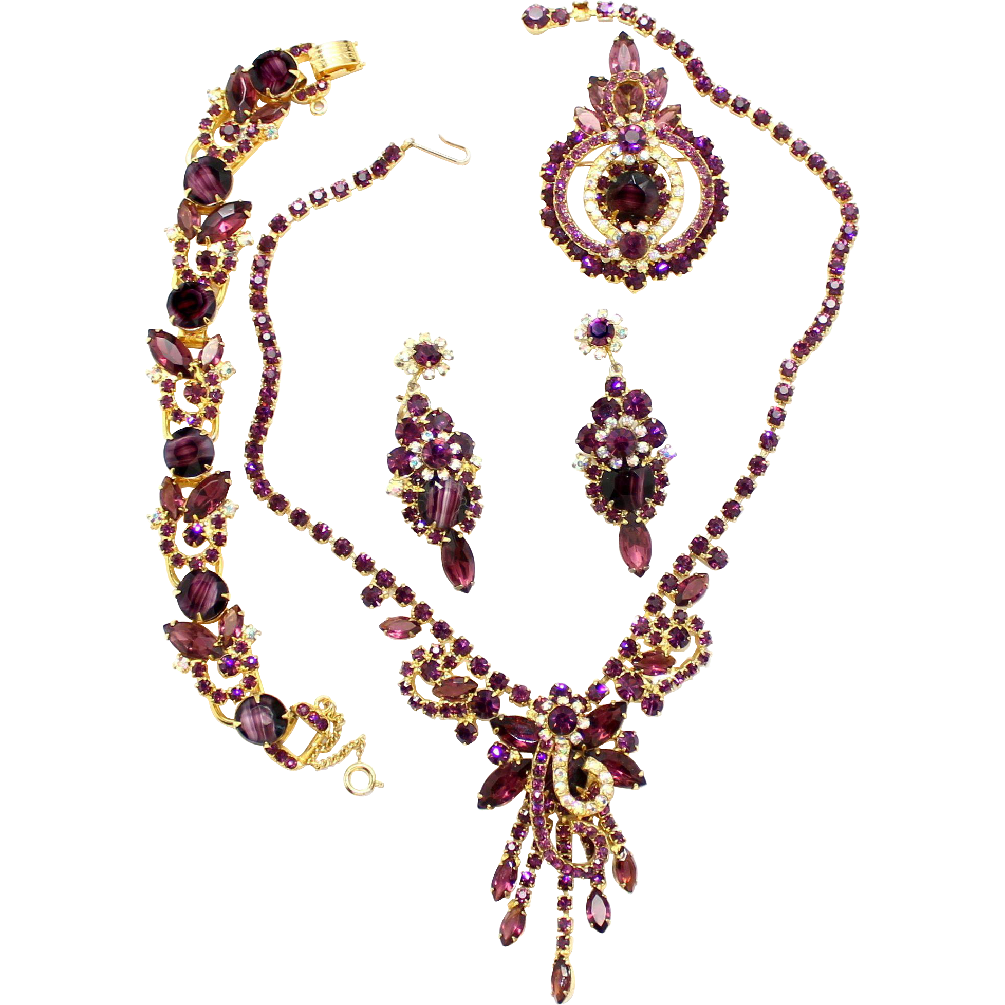 Vintage Juliana (D and E) Book Piece Amethyst Givre Rhinestone Necklace, Bracelet, Brooch, and Dangle Earrings Grand Parure