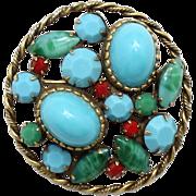 Vintage Juliana faux turquoise jade coral Cabochon Rhinestone Pendant  Brooch