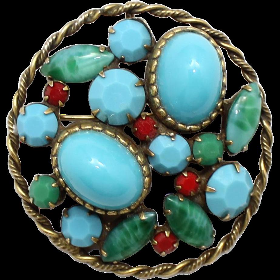 Vintage Juliana (D&E) faux turquoise, jade & coral Cabochon Pendant / Brooch
