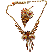 Vintage Juliana (D and E) Book Piece Topaz and AB Rhinestone Necklace and Brooch Demi Parure
