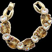 Vintage Juliana (D&E) Book Piece Topaz Scooped AB & Topaz Rhinestone Bracelet