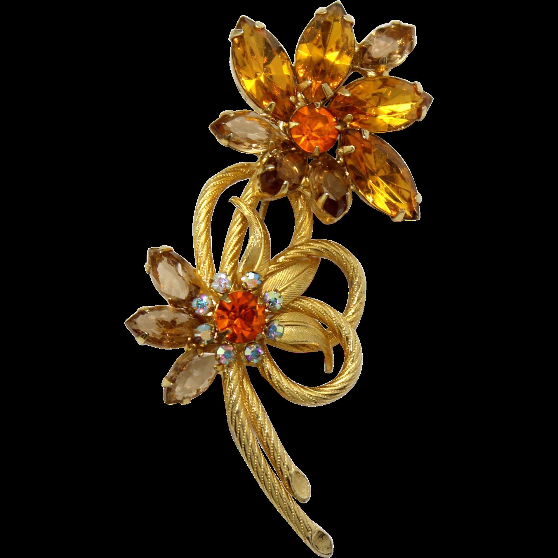 Vintage Juliana Topaz Rhinestone Venus Flames Flower Brooch