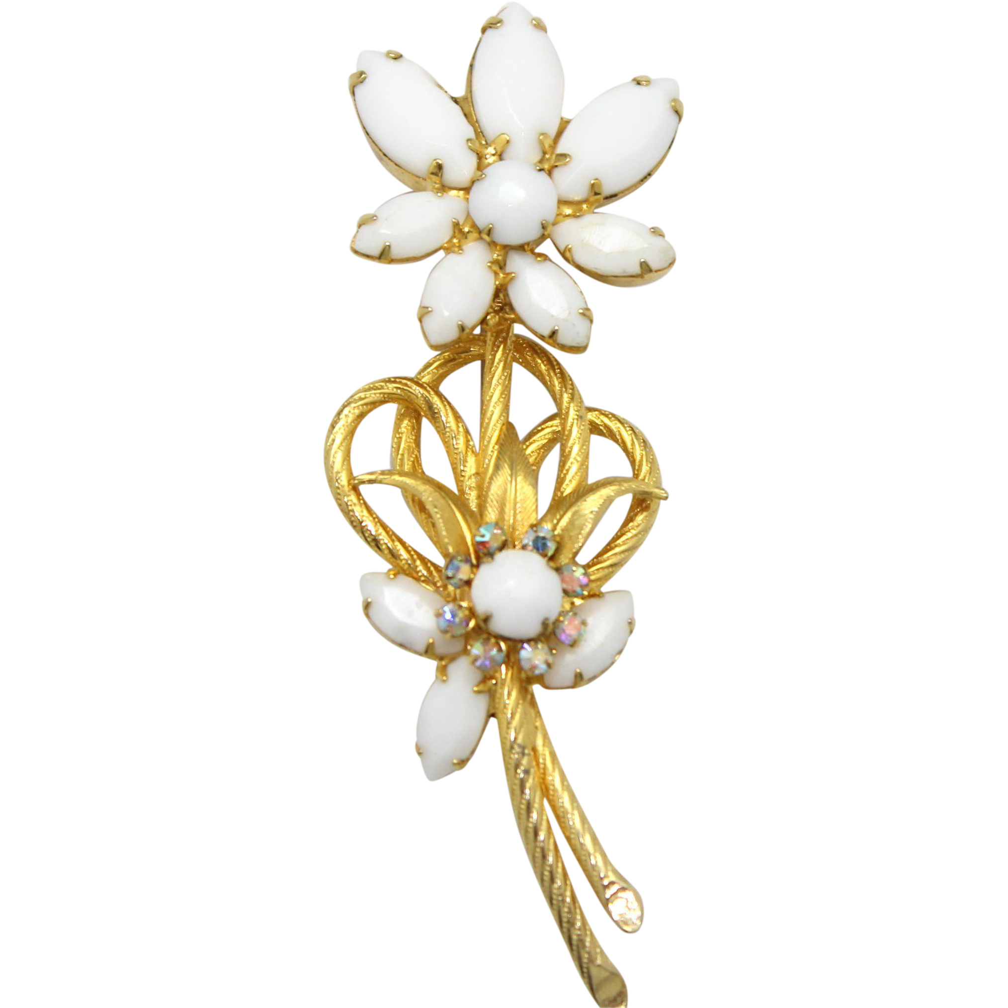 Vintage Juliana White Milk Glass Rhinestone Venus Flames Flower Brooch