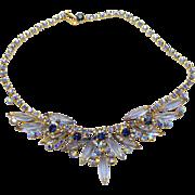 Vintage Juliana (D&E) Blue & AB Rhinestone Necklace