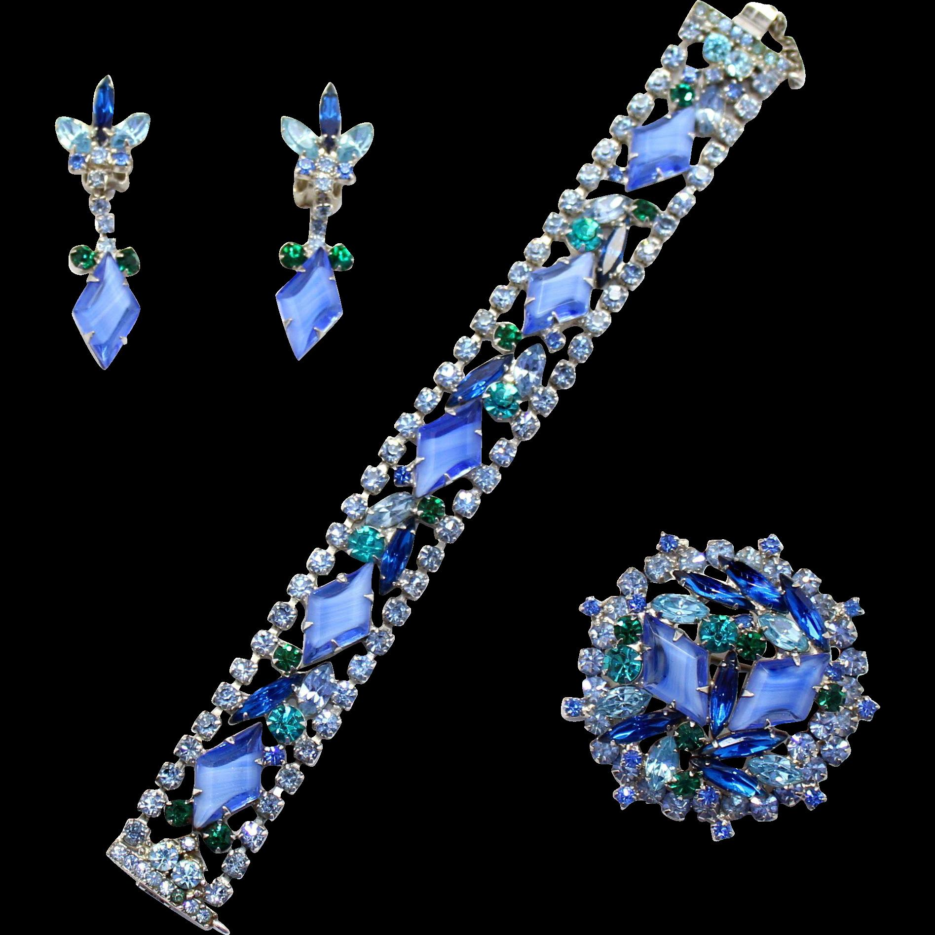 Vintage Juliana (D and E) Book Piece Blue Diamond Givre, Teal and Blue Zircon Rhinestone Bracelet, Brooch and Dangle Earrings Parure