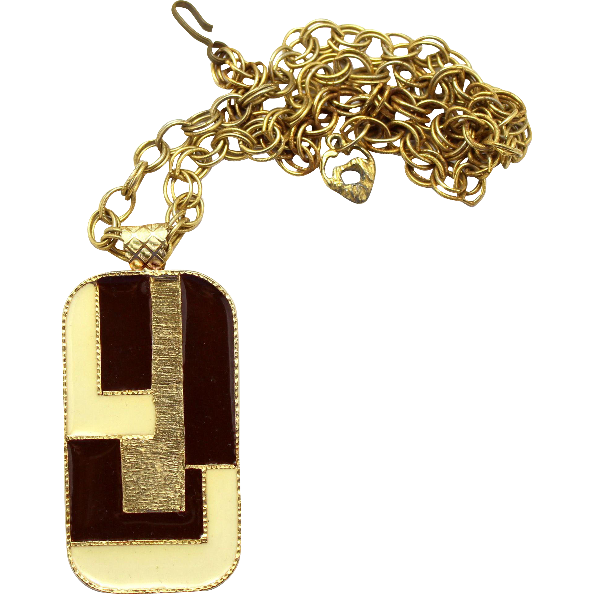Vintage Juliana Modernist Cream and Brown Enamel Pendant Necklace