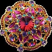 Vintage Juliana Book Piece Volcano Rivoli Fuchsia Pink Purple Rhinestone Brooch