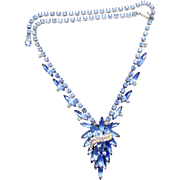 Vintage Juliana (D&E) Book Piece Blue Rhinestone Ribbon Swag Necklace