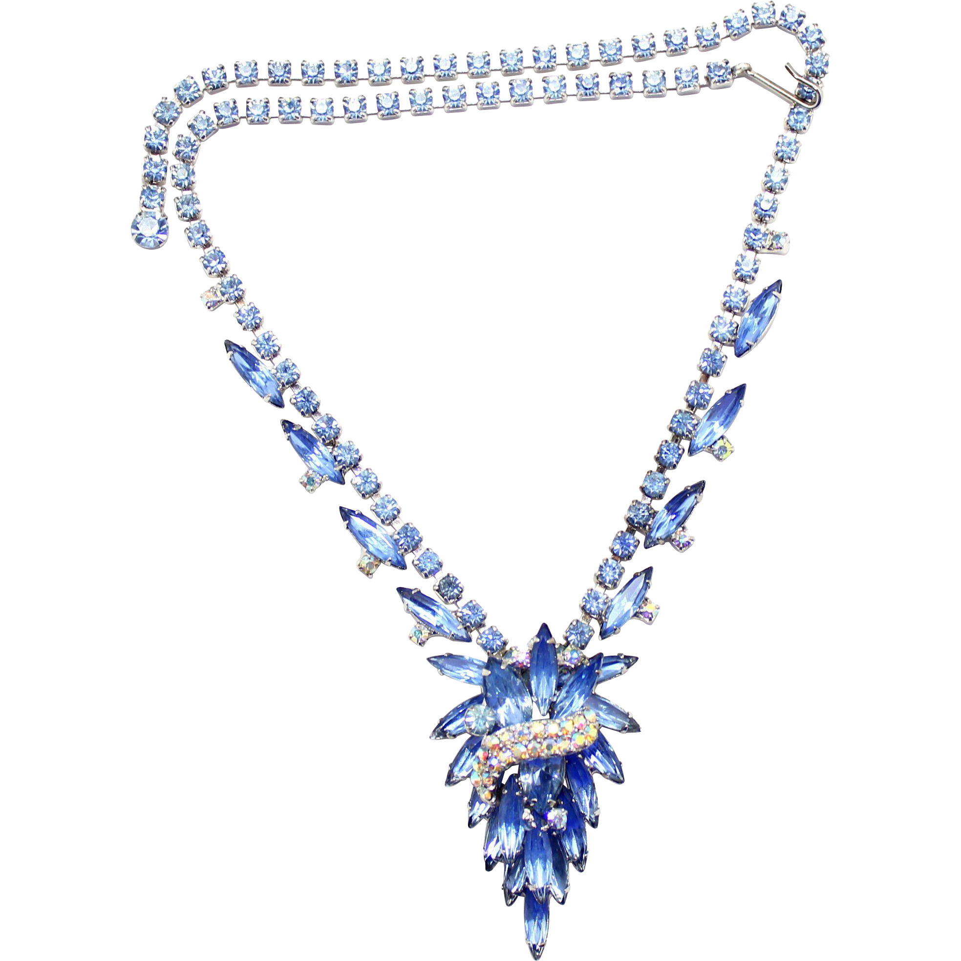 Vintage Juliana (D&E) Book Piece Blue Rhinestone Ribbon Swag Necklace
