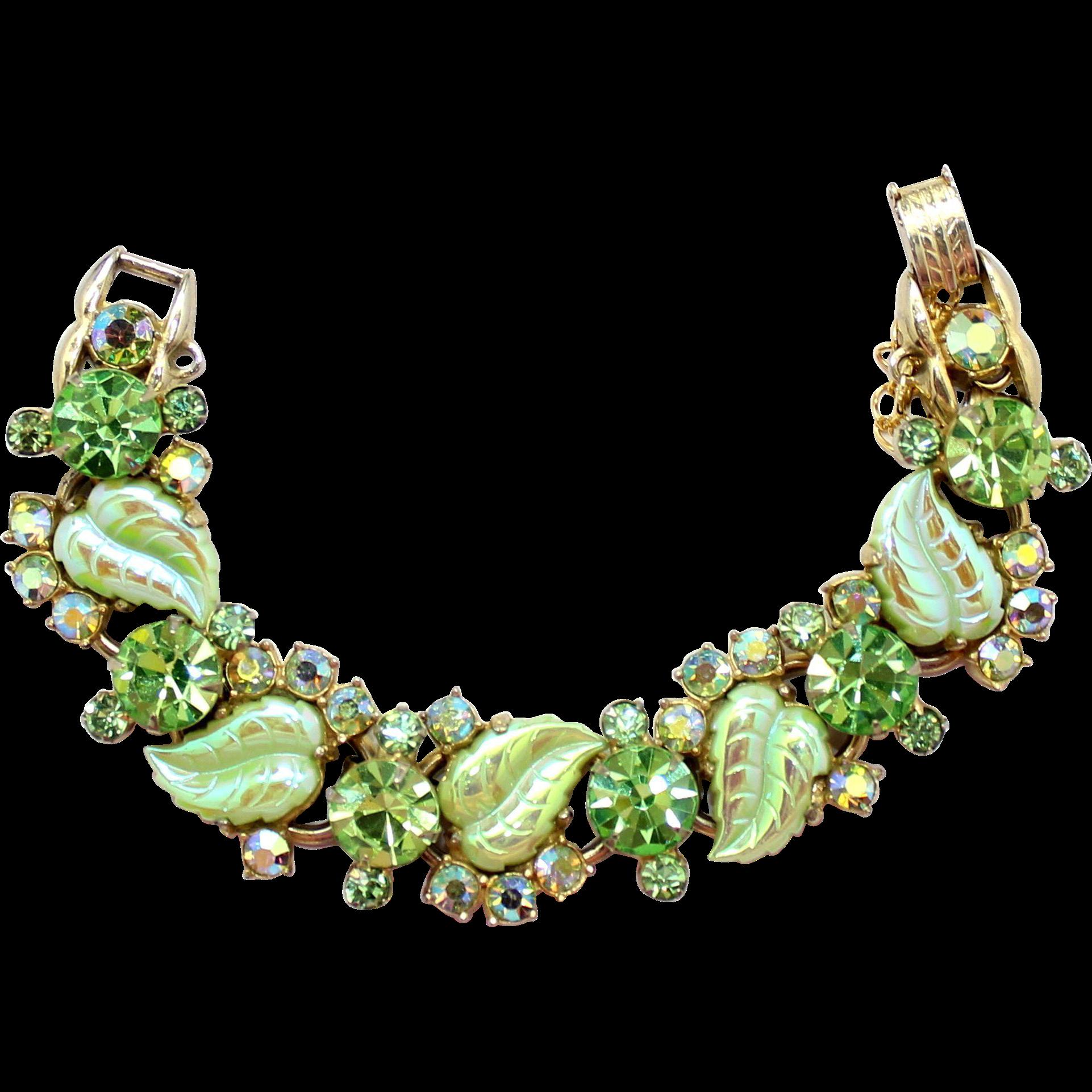 Vintage Juliana Peridot Green Molded Iridescent Leaf Rhinestone Bracelet