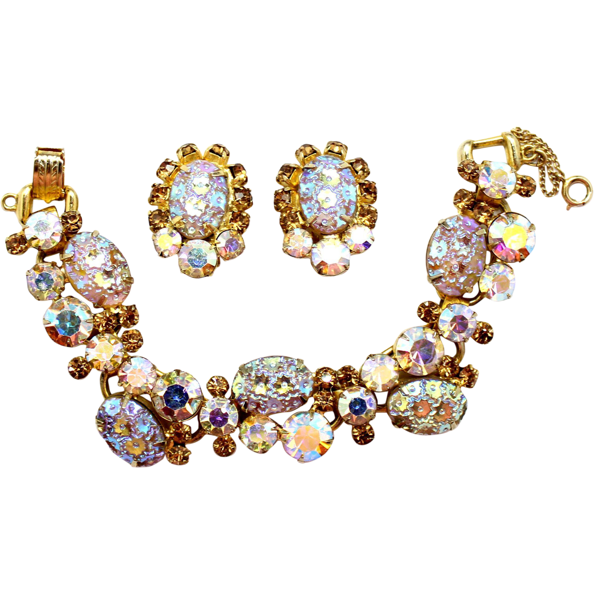 Vintage Juliana (D and E) Book Piece Topaz Rhinestone Floral Pressed Glass and Rhinestone Bracelet and Earrings Demi Parure