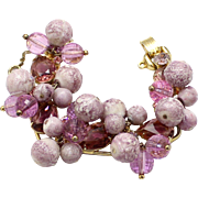 Vintage Juliana Book Piece Amethyst Rhinestone Puffy Bead Bracelet