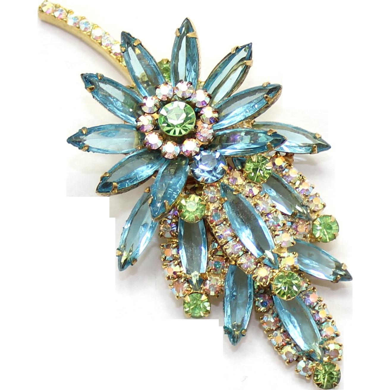 Vintage Juliana (D&E) Aqua blue, peridot green & AB rhinestone Leaf Brooch