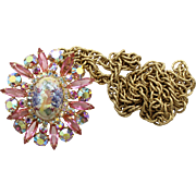 Vintage Juliana (D&E) Book Piece Pink Rhinestone & Stippled Cabochon Brooch / Pendant