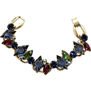 Vintage Juliana Book Piece Blue Diamond Amethyst Green Rhinestone Bracelet