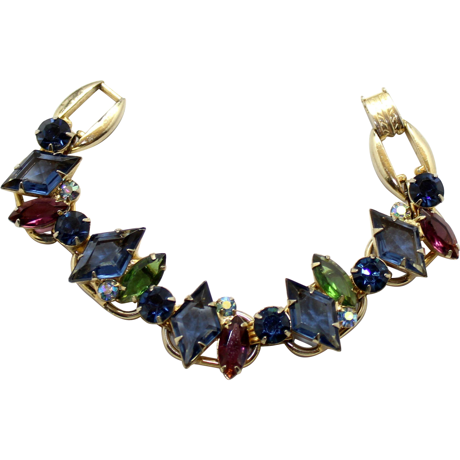 Vintage Juliana Book Piece Blue Diamond Amethyst Green Rhinestone Bracelet