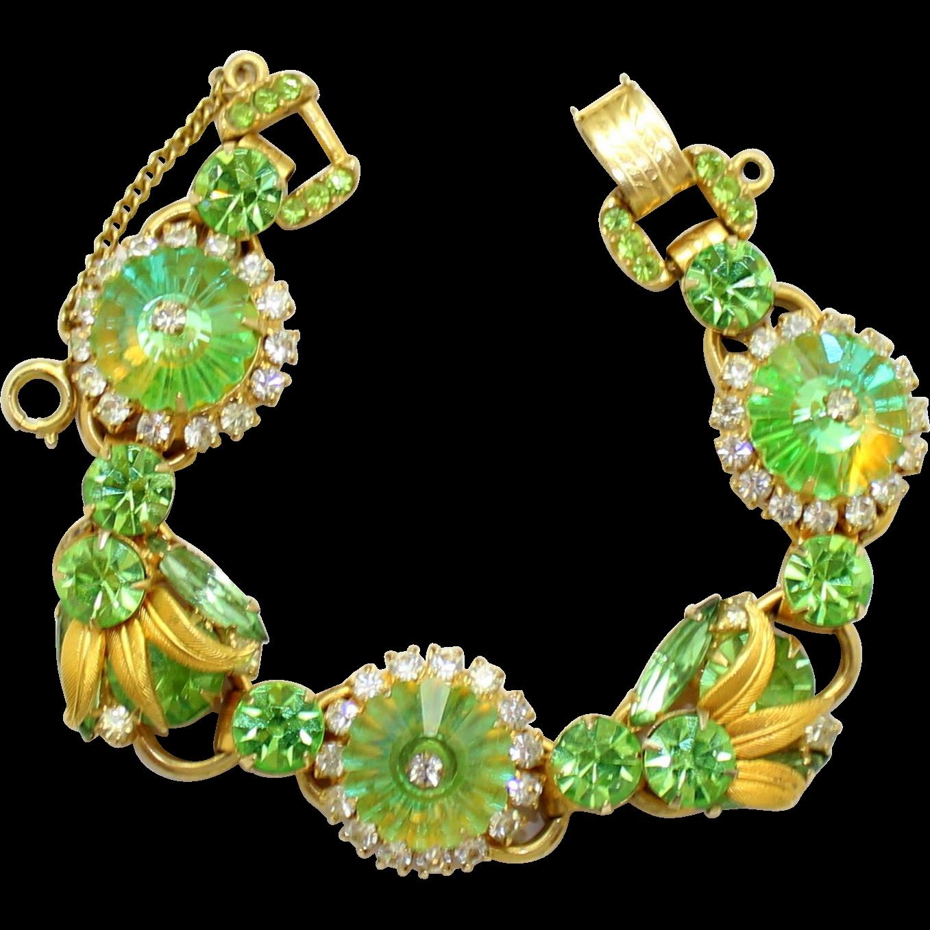 Vintage Juliana (D&E) Book Piece Venus Flames Peridot Green Margarita Rhinestone Bracelet
