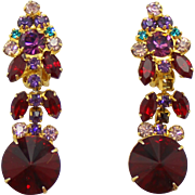 Vintage Juliana (D&E) RARE Red Rivoli & Purple & Teal Rhinestone Earrings