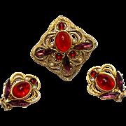 Vintage Juliana (D&E) Red Cabochon Metal Work Demi Parure