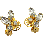Vintage Juliana Clear Opal Rhinestone and 10 Petal Daisy Earrings