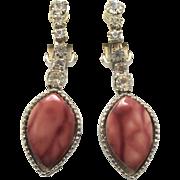 Vintage Juliana Marbled Mauve Plastic Rhinestone Dangle Earrings