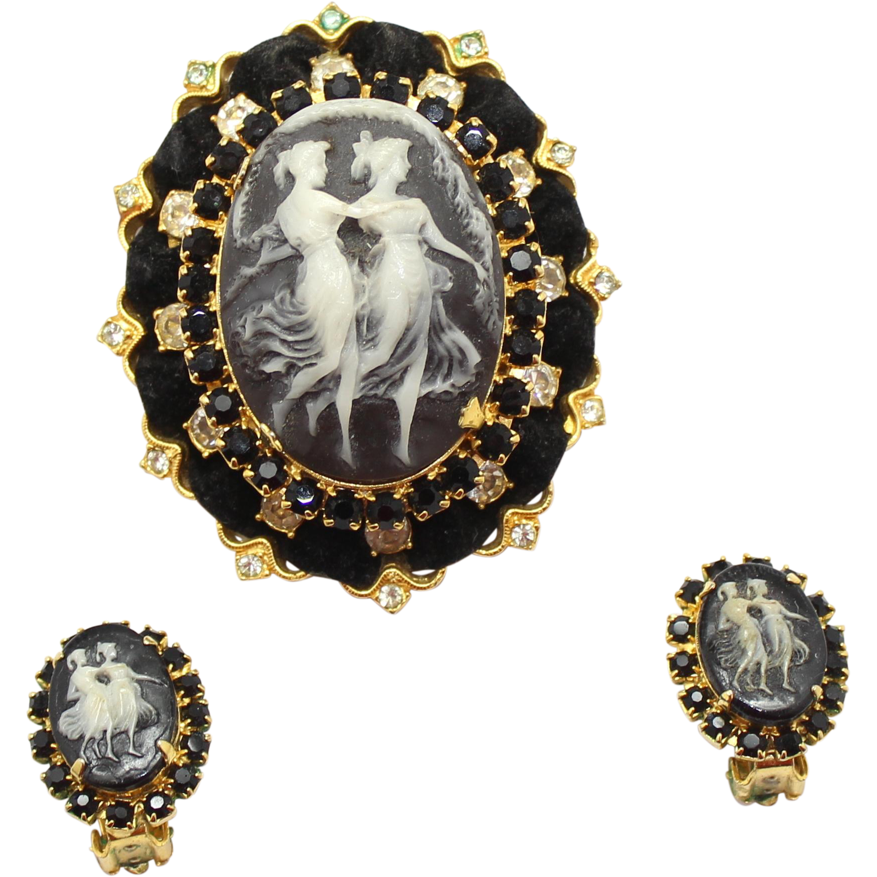 Vintage Juliana (D and E) Book Piece Black Rhinestone Two Maidens Rhinestone Cameo Pendant / Brooch and Earrings Demi Parure