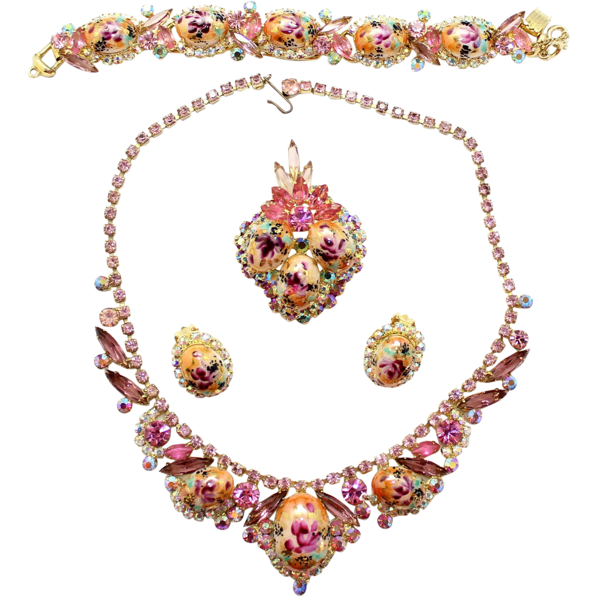 Vintage Juliana (D and E) Book Piece Pink and Lavender Rhinestone Rose Limoge Necklace, Bracelet Pendant / Brooch and Earrings Grand Parure